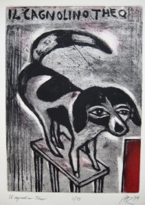 Il cagnolino Theo, 1994 Etching, size of sheet 90 x 62 cm, 4/75